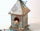 Birdhouse Suncatcher Beach Theme Beaded Mixed Media Bohemian Summer Decor