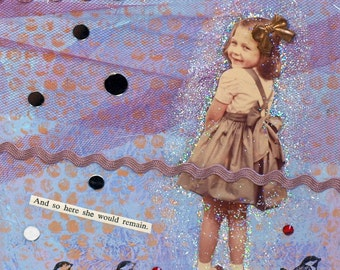 Original Mixed Media Art Collage Vintage Photo Little Girl with Birds Lavender Small Square Canvas