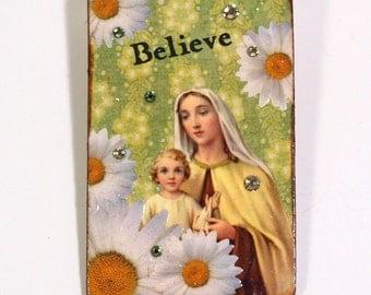 Religious Magnet Fridge Magnet Virgin Mary Madonna and Child Catholic Gift Vintage Holy Card Decoupaged