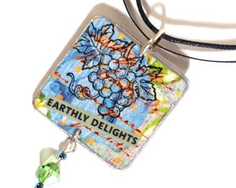 Boho Necklace Boho Jewelry Light Blue Decoupaged Square Pendant Grapes Motif Bohemian Jewelry Gifts for Her Gifts Under 20