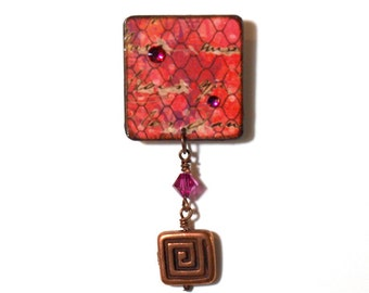 Lapel Pin Square Decoupaged Brooch Pink and Purple Crystal Copper Charm Contemporary Jewelry Small Gift for Her