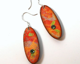 Decoupaged Oval Earrings Red Orange Crystal Embellished Dangle Multicolor Summer Jewelry