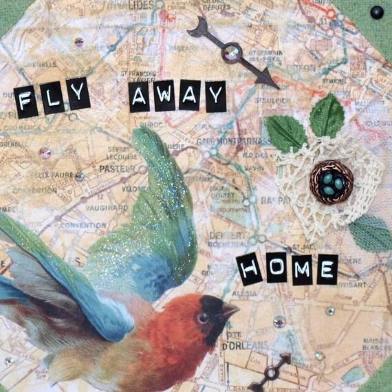 Bird Collage Art Original Mixed Media Multicolor Travel Theme Paris Map Small Square Canvas
