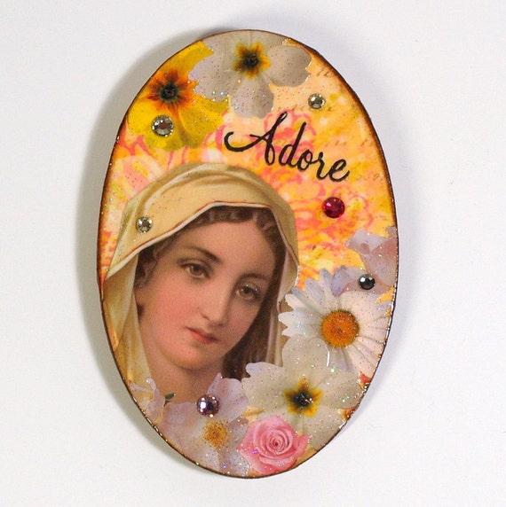 Refrigerator Magnet Religious Fridge Magnet Madonna Flowers Yellow