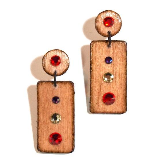 Wood Jewelry Geometric Earrings Wood Post Earrings Fall Autumn Jewelry Crystal Rectangle Dangle Red Yellow Purple