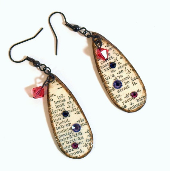Earrings Decoupaged Teardrop Vintage Dictionary Text Dictionary Print Dangle Crystal Purple Pink Librarian Gift for Her