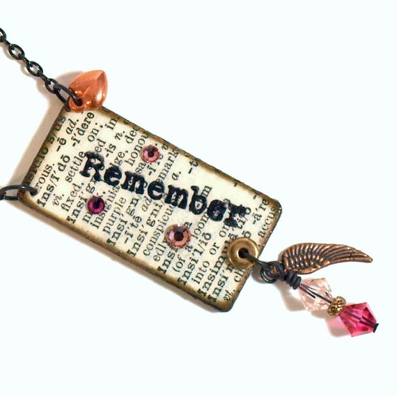 Dictionary Jewelry Decoupaged Pendant Necklace Wearable Art Word Mixed Media Pink Crystal