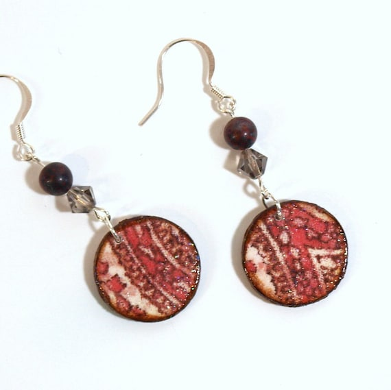 Decoupaged Earrings Wood Circle Dangle Maroon Gray Paisley Fall Autumn Jewelry Gifts for Her