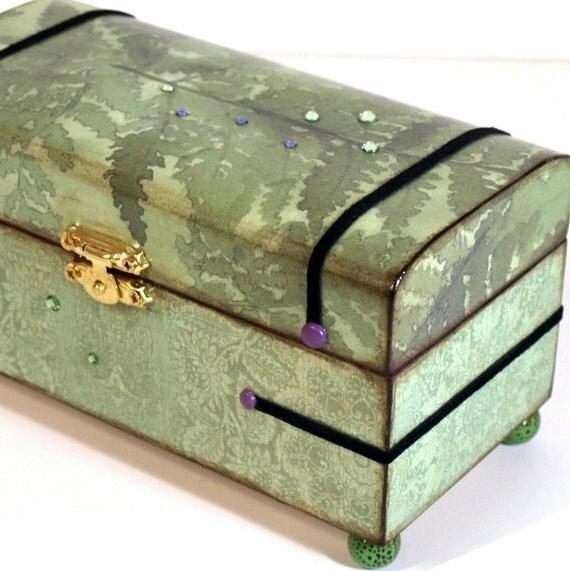 Keepsake Box Jewelry Trinket Box Decoupaged  Moss Green Fern Pattern
