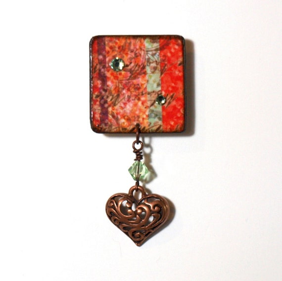 Decoupaged Lapel Pin Red Multicolor Stripe Square Brooch Copper Filigree Heart Decoupaged Summer Jewelry Gifts for Her