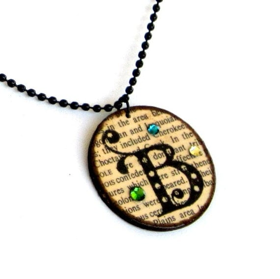 Initial Jewelry Personalized Necklace Pendant Monogram Crystals Vintage Dictionary Print Librarian Teacher Gift for Her