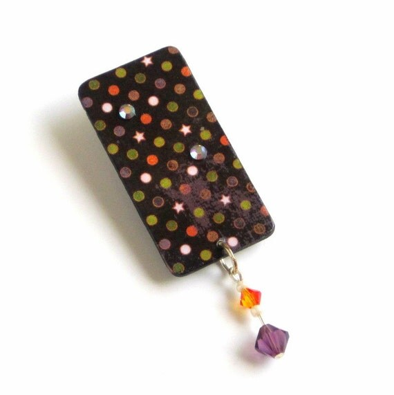 Halloween Lapel Pin Black Brooch Polka Dots Stars Spooky Jewelry Orange Green Purple Crystal