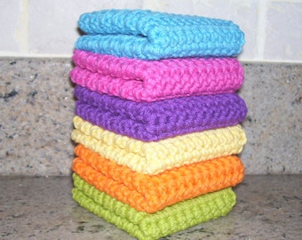 Crochet Wash Cloths  /  Dish Cloths / 100% Cotton / Set of 6 / Rainbow