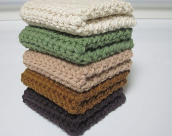 Cotton Wash Cloths, Dishcloths, Set of 5