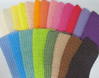 Cotton Crocheted Wash Cloths, Set of 5, Choose Your Colors