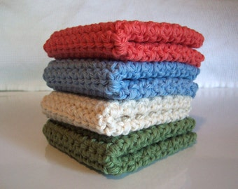 Crochet Wash Cloth, Crochet Dish Cloth, Set of 4 Cotton Washcloths