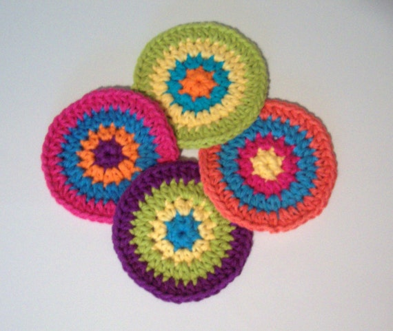 Crocheted Coasters / Set of 4 / 100% Cotton