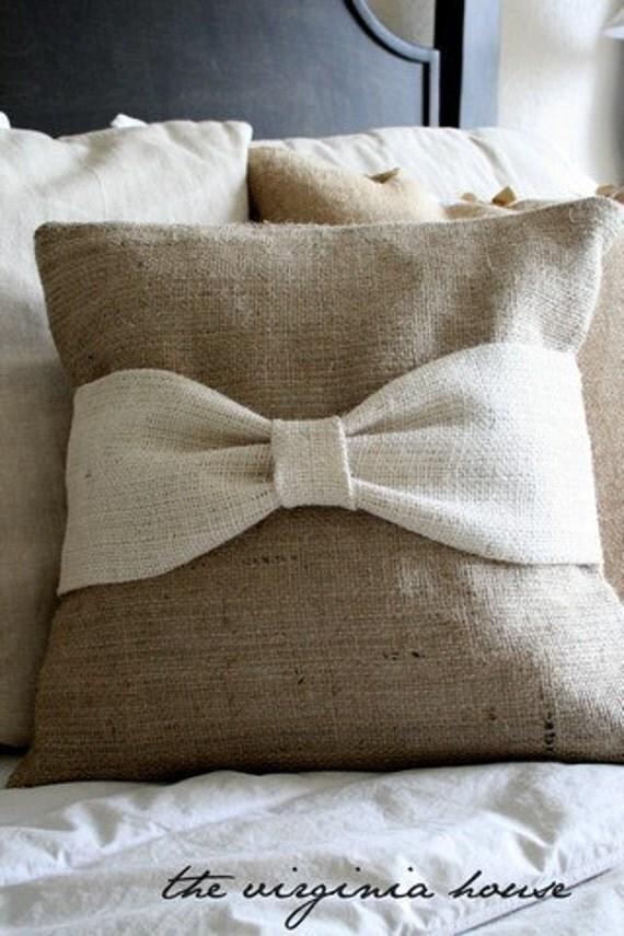 Handmade Burlap Pillow with white Burlap Bow