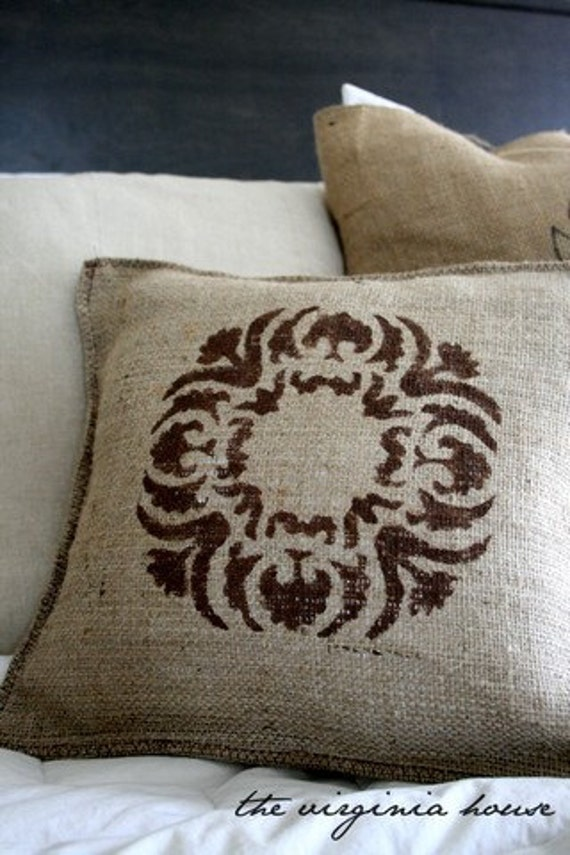 Burlap Brown Decorative Stenciled Pillow