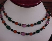 Vintage Faceted Long Crystals Necklace Green Purple,brown,black beads