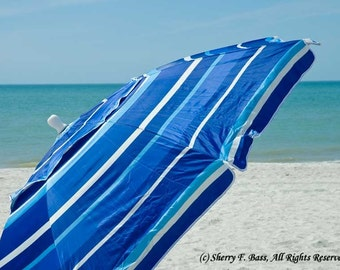 BLUE, BEACH UMBRELLA Photograph, Various Sizes