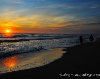 SUNSET SURFERS, Beach Photography, Beach Sunset, available in various sizes