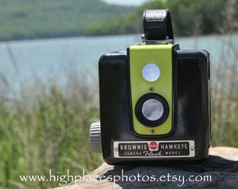 LIME GREEN Working Kodak Brownie Hawkeye Flash Camera