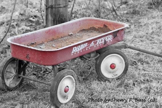 RED WAGON, Red Radio Flyer Wagon Photograph, Fine Art  Photograph