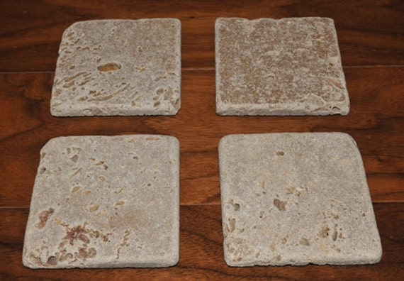 Neutral Tumbled Marble Coasters - set of 4