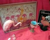 vintage FLAMINGO BATIK art wall hanging  kitsch retro pink 1960s I need a new home its a hoot