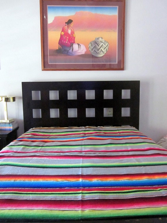sALE vintage Mexican  wool  SERAPE rug  BLANKET wall hanging MEXICAN eames era table runner tablecloth
