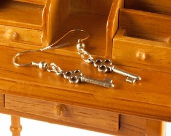 Miniature Key Earrings Silver