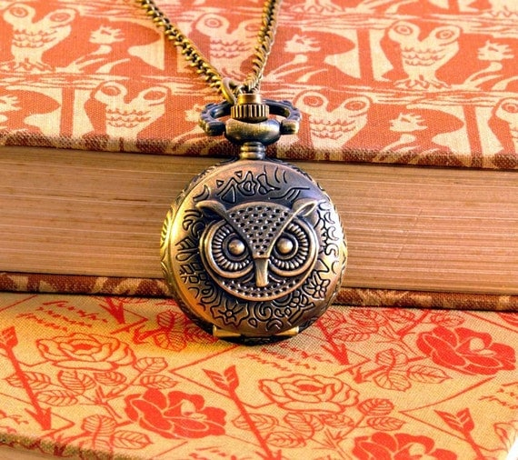 Owl Pocket Watch Necklace - Really Works. Owl Watch Pendant, Owl Clock Necklace