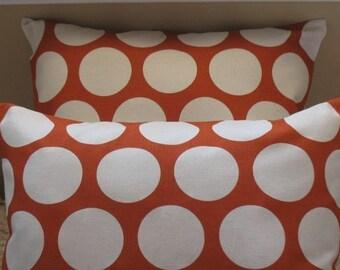 NEW  Two 20 x 20  Pillow Covers Dandi Dot Sweet Potato Fabric Both Sides