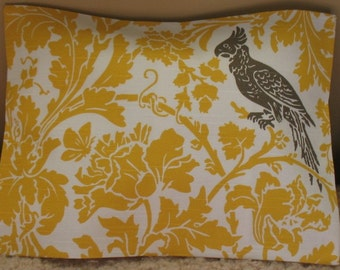 Two in stock 12 x 18 Barber taupe bird Lumbar Pillow Cover