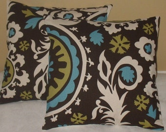 NEW 18 x 18 Suzani Chocolate Pillow Covers Stunning