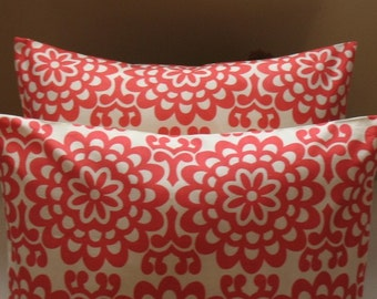 "SALE TWO Amy Butler 18""   Pillow Covers Lotus Wall Flower Cherry"