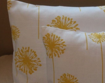 FALL SALE 15% off Two  18 x 18  Premier Prints  Dandelion white and corn yellow fabric front and back