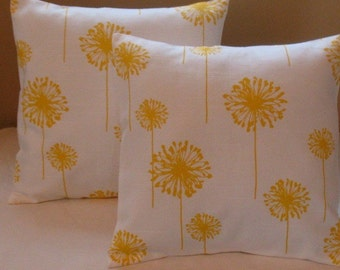 SALE  SALE 15% off Two  18 x 18  Premier Prints  Dandelion white and corn yellow fabric front and back