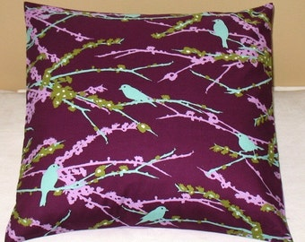 SALE  Two 16 x 16  pillow covers Joel Dewberry Aviary Plum Sparrow