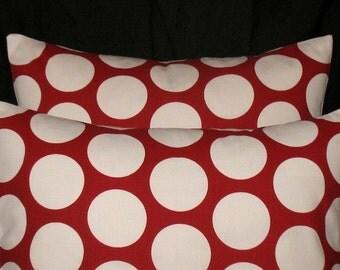 Two Pillow Covers 18 x 18 Dandi Dot Lipstick Red Christmas Pillow
