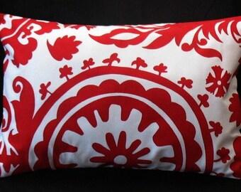 SALE 12 x 18 Lumbar Pillow Lipstick Red Suzani