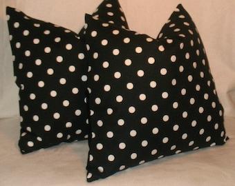 SALE Two 16 x 16     Premier Prints Black Polka dot