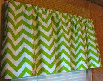 NEW Window Curtain-Valance Premier Prints  Chartruese Zigzag 52 x 16