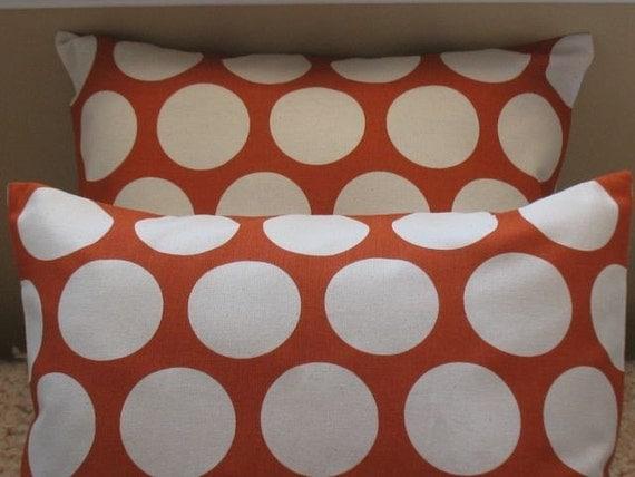 NEW  Two 18 x 18 Pillow Covers Dandi Dot Sweet Potato