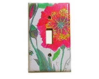 lightswitch plate red botanical poppy