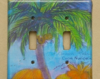 double palm tree switchplate.... available in single, outlet, decora, and double