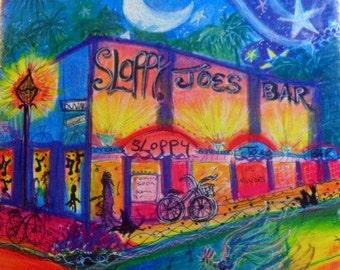 A Fine art tile of sloppy joes, key west,  florida,