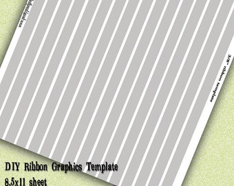 INSTANT DOWNLOAD-DIY Ribbon Graphics Template 3/8 inch Print Your Own Ribbon Images