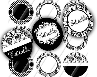 INSTANT DOWNLOAD-Digital Bottlecaps-Black White-Jewelry-Blanks-Editable